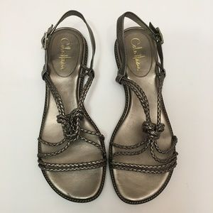 COLE HAAN metallic braided knotted sandals 10 11